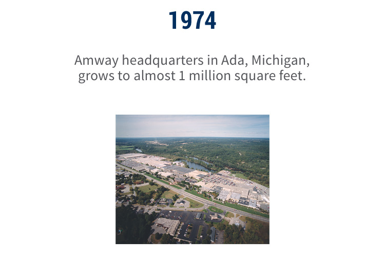 1974: Amway headquarters in Ada, Michigan, grows to almost 1 million square feet.
