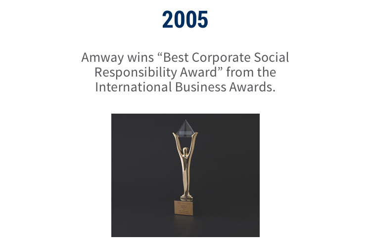"2005: Amway wins ""Best Corporate Social Responsibility Award"" from the International Business Awards."